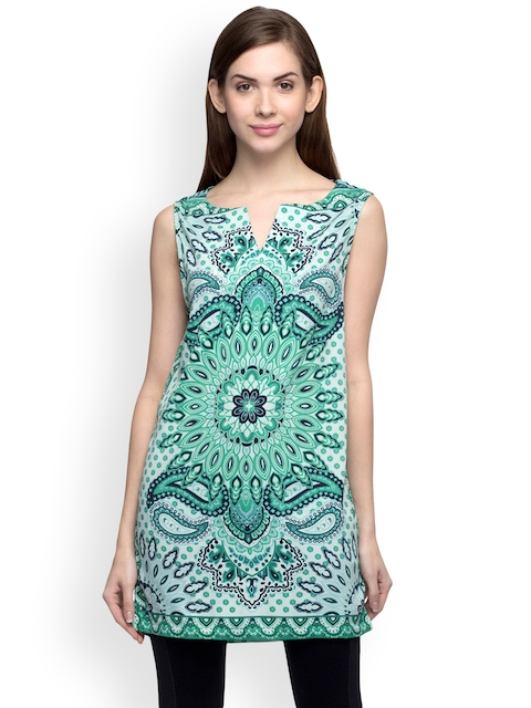 Oxolloxo Green Printed Tunic  available at myntra for Rs.399