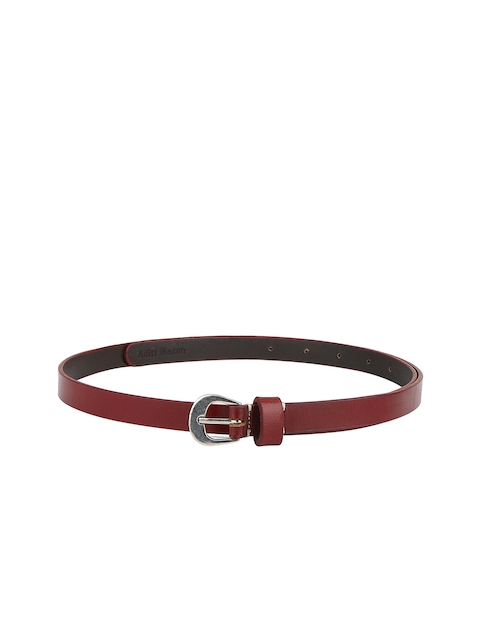 Aditi Wasan Genuine Leather Burgundy Elegant Belt