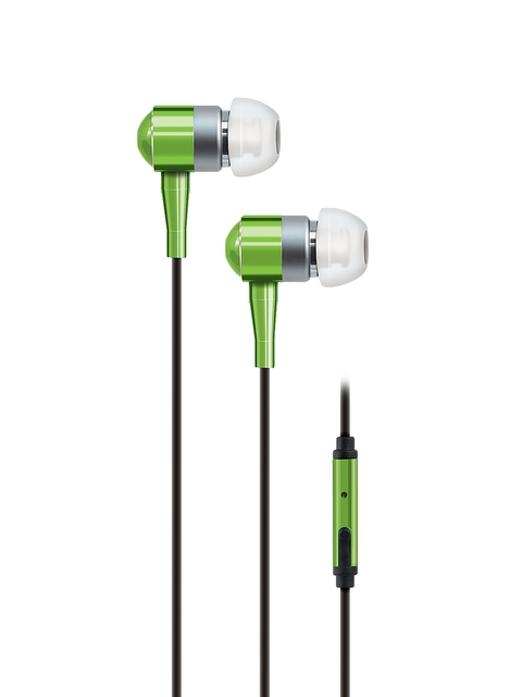 AT&T Unisex Green Noise Isolating In-Ear Stereo Headphones with Microphone PEBM02