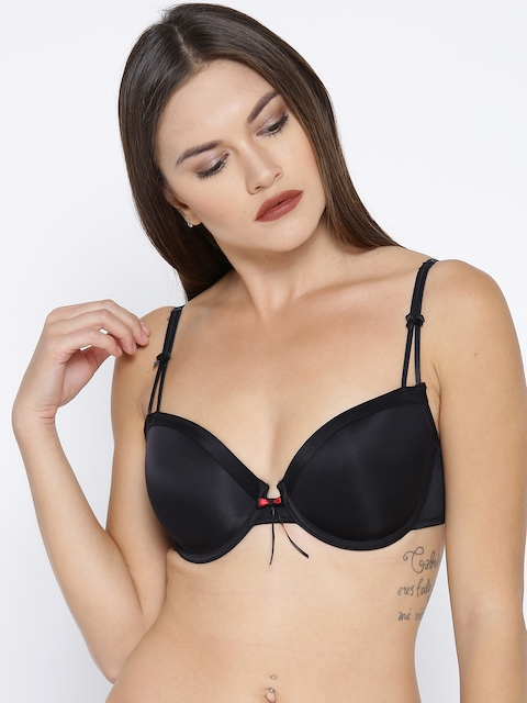 Enamor Black Solid Underwired Lightly Padded Plunge Bra F060