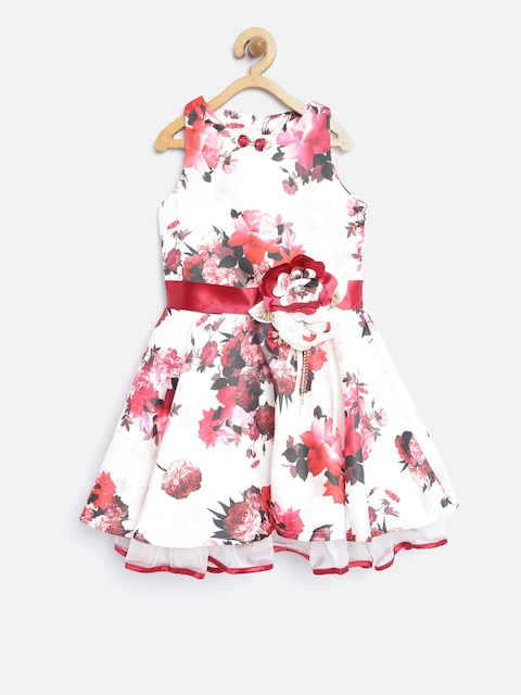 Tiny Girl Off-White & Pink Floral Print Fit & Flare Dress