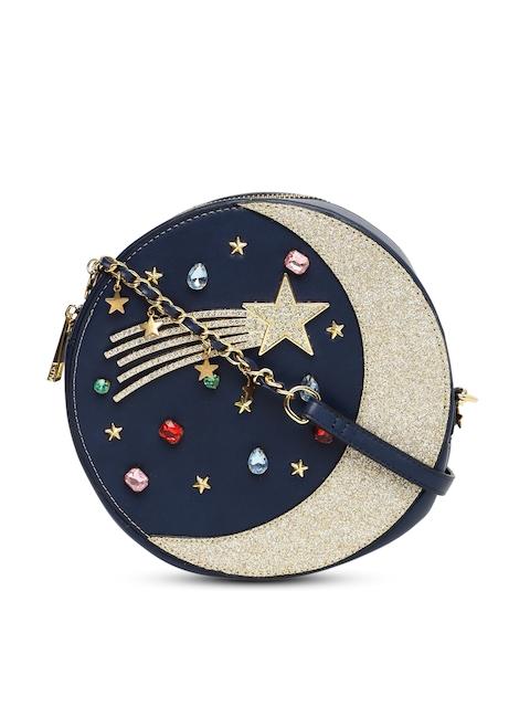 ALDO Navy Blue & Gold-Toned Embellished Sling Bag