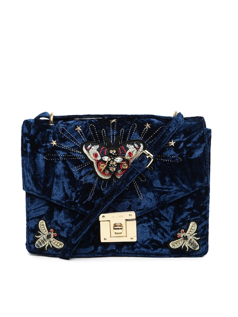 ALDO Navy Blue Embellished Sling Bag