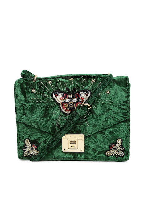 ALDO Green Embellished Sling Bag
