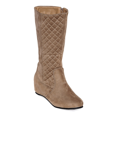 Flat n Heels Women Tan Solid Suede High-Top Flat Boots