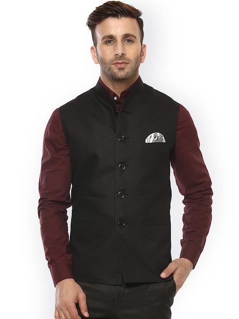 Hangup Black Self-Design Nehru Jacket