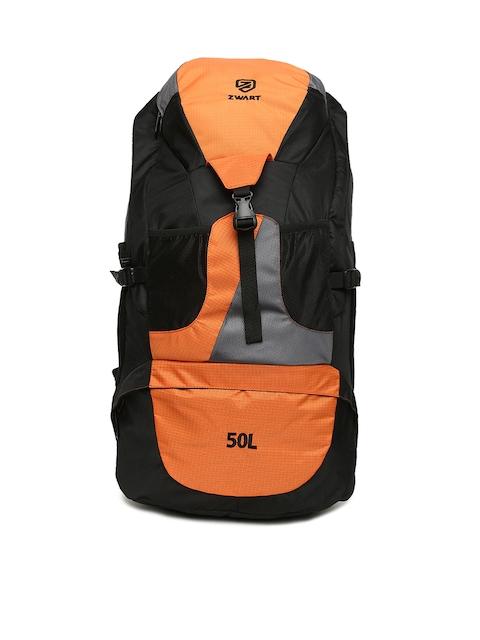 Zwart Unisex Orange & Black Colourblocked RUCK-JONROV Rucksack