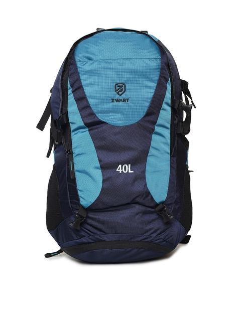 Zwart Unisex Blue Colourblocked Backpack