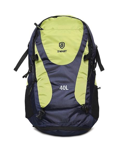 Zwart Unisex Blue & Green Colourblocked Backpack