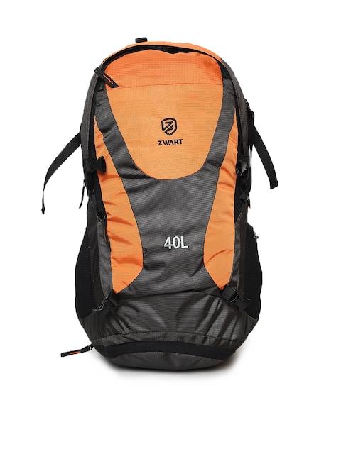 Zwart Unisex Grey & Orange Colourblocked Rucksack