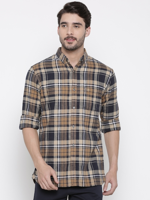 French Connection Men Beige & Navy Slim Fit Checked Casual Shirt