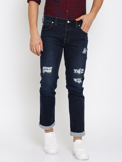 French Connection Men Blue Slim Straight Fit Mid-Rise Mildly Distressed Stretchable Jeans