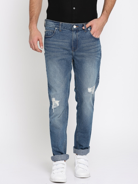 French Connection Men Blue Slim Straight Fit Mid-Rise Low Distressed Stretchable Jeans