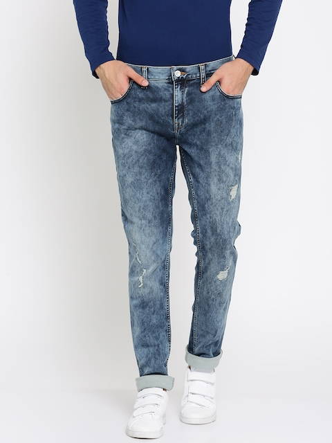 French Connection Men Blue Slim Fit Mid-Rise Low Distress Stretchable Jeans
