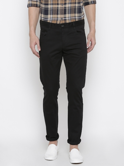 French Connection Men Black Regular Fit Solid Chinos