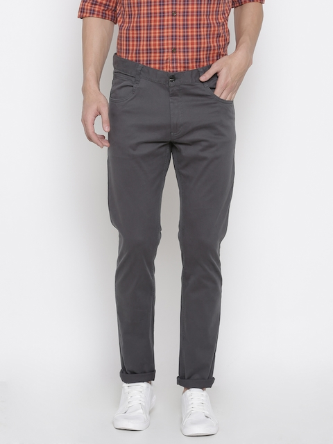 French Connection Men Grey Regular Fit Solid Chinos