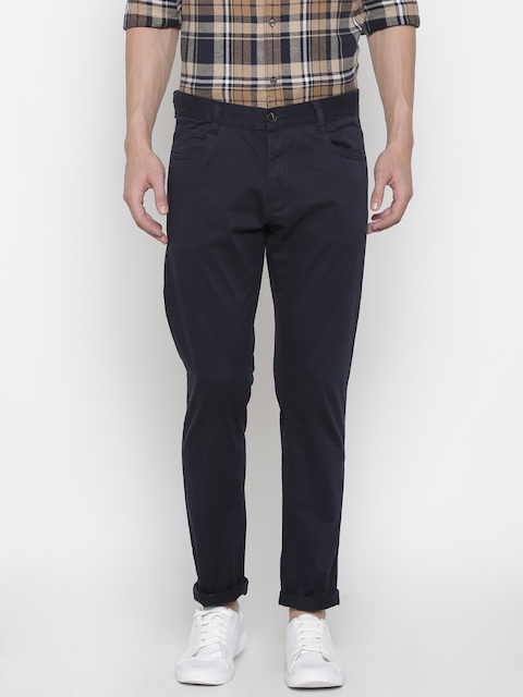 French Connection Men Navy Regular Fit Solid Chino Trousers
