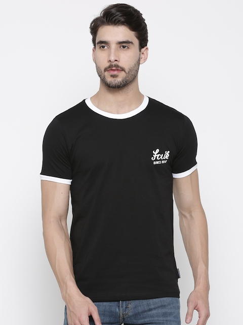 French Connection Men Black Slim Fit Solid Round Neck T-shirt