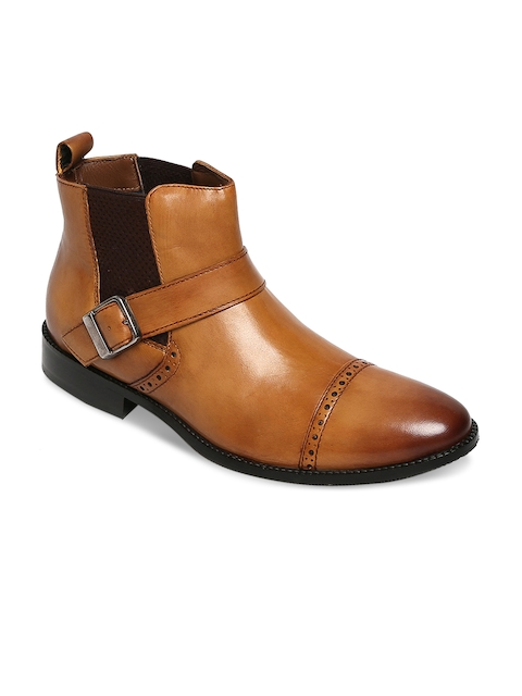 BRUNE Men Tan Semiformal Leather Boots