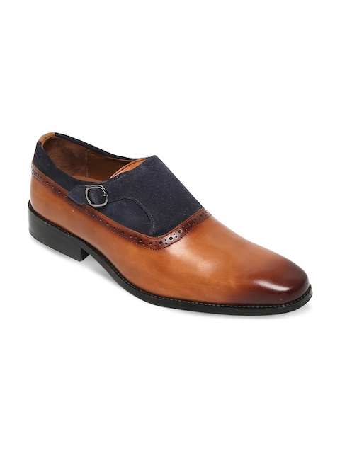 BRUNE Men Tan Brown & Blue Semiformal Leather Monk Shoes