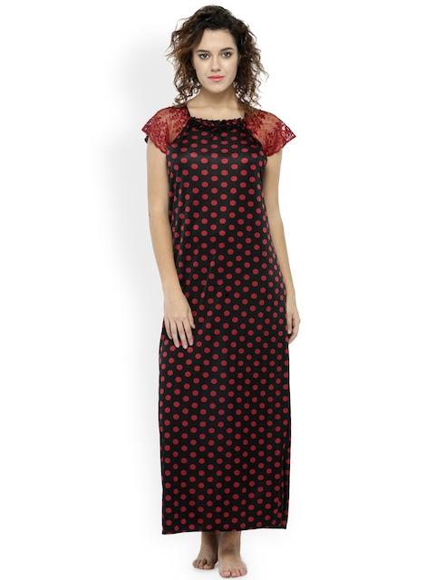 N-Gal Black & Maroon Polka Dot Print Maxi Nightdress NSR06