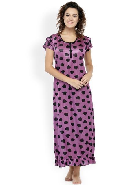 N-Gal Purple & Black Printed Maxi Nightdress NSR08