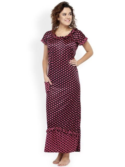 N-Gal Black & Pink Polka Dot Print Maxi Nightdress NSR17