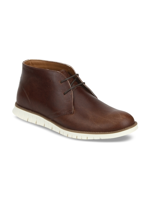Red Tape Men Brown Leather Flat Boots