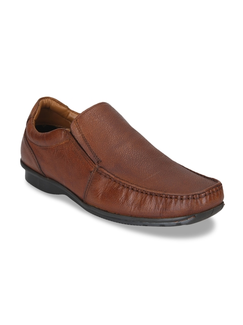 Red Tape Men Tan Brown Leather Slip-ons