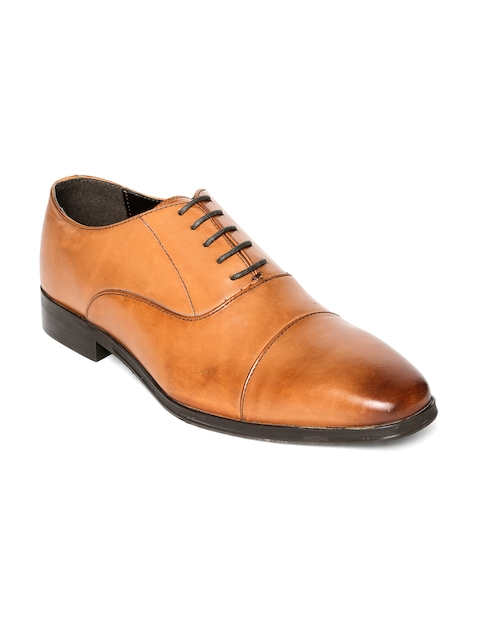 Urban Country Men Tan Brown Leather Formal Oxfords