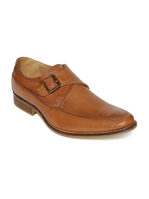 Urban Country Men Tan Brown Leather Formal Monk Shoes