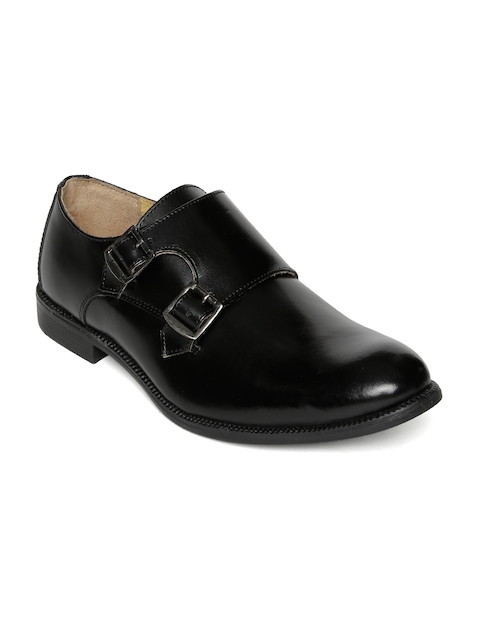 Urban Country Men Black Leather Formal Monk Shoes