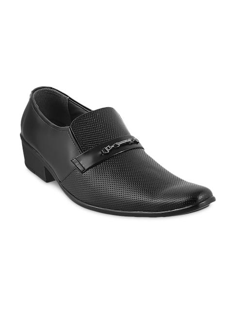 Metro Men Black Leather Perforated Semiformal Shoes