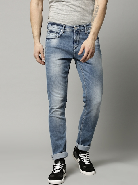 French Connection Men Blue Slim Straight Fit Mid-Rise Clean Look Stretchable Jeans