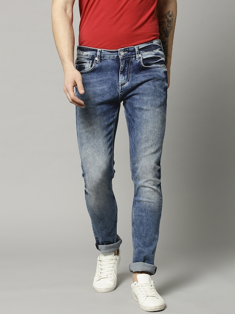 French Connection Men Blue Slim Straight Fit Clean Look Stretchable Jeans