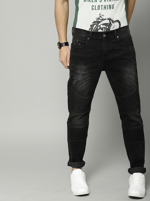 French Connection Men Black Slim Fit Mid-Rise Mildly Distressed Stretchable Jeans