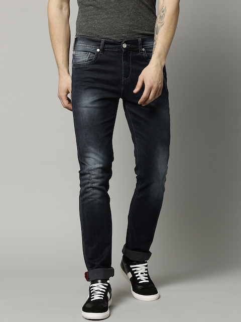 French Connection Men Black Straight Fit Mid-Rise Clean Look Stretchable Jeans