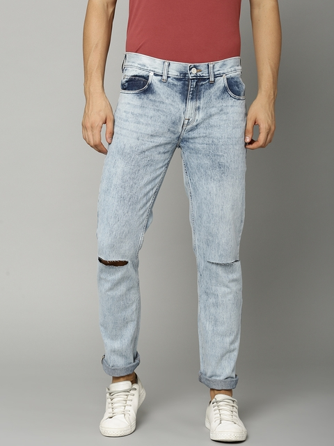 French Connection Men Blue Slim Fit Mid-Rise Slashed Knee Jeans