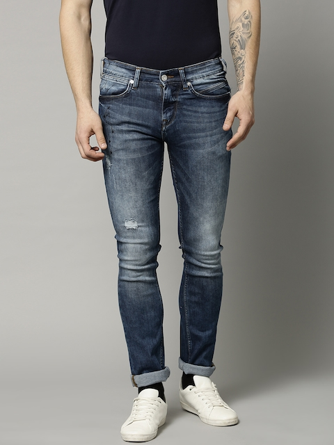 French Connection Men Blue Slim Straight Fit Mid-Rise Low Distress Stretchable Jeans