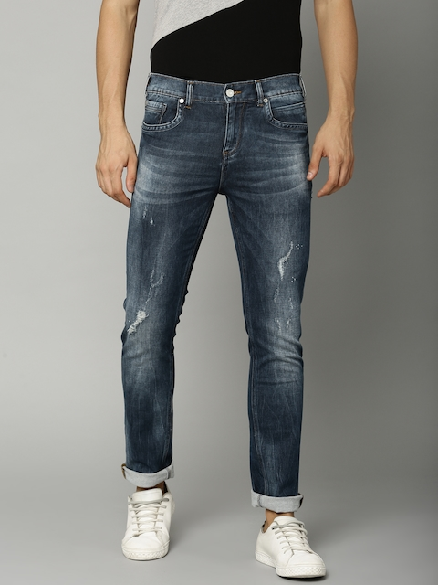French Connection Men Blue Slim Fit Mid-Rise Mildly Distressed Stretchable Jeans