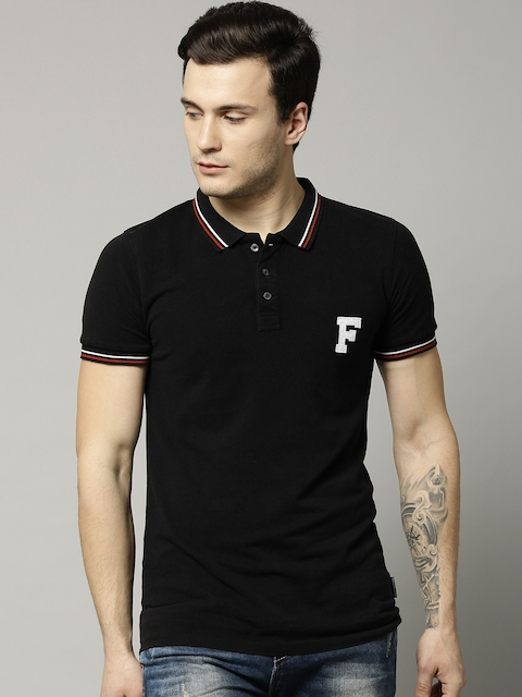 French Connection Men Black Solid Polo Collar T-shirt