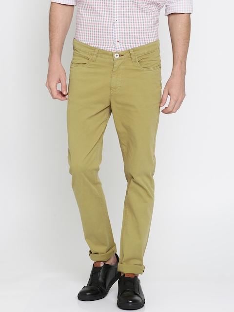 Pepe Jeans Men Khaki Slim Fit Solid Chinos