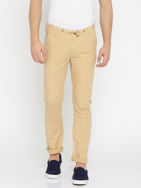 Pepe Jeans Men Beige Slim Fit Solid Regular Trousers