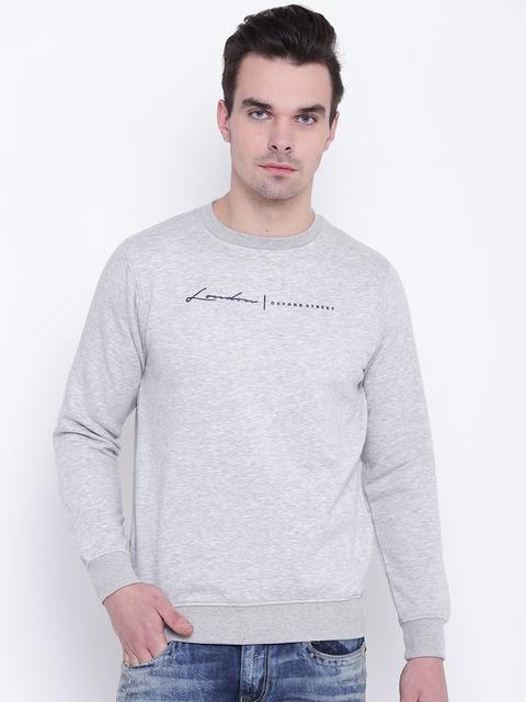Fort Collins Men Grey Melange Printed Detail Sweatshirt