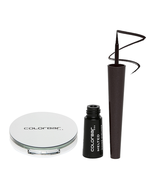 Colorbar Melted Crystal Black Eyeliner 001 & Warm Beige Perfect Match Compact 003