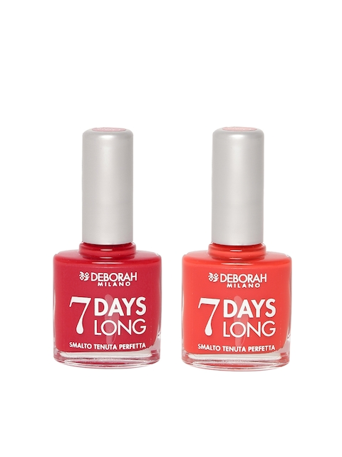 Deborah Milano 7 Days Long Orange Mix Nail Polish 880 & Iconic Red Nail Polish 876