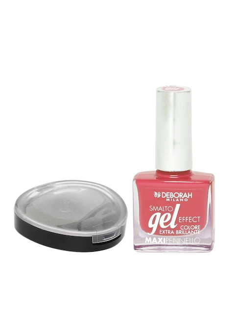 Deborah Milano Grey 24ORE Velvet Eyeshadow 08 & Smalto Gel Effect Dancing Coral Maxipennello Nail Polish 66
