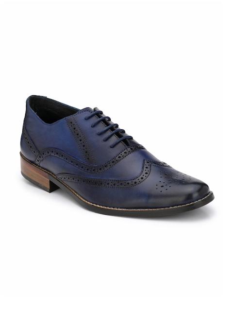 LUJO Men Blue Leather Brogues