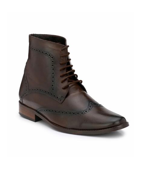 LUJO Men Brown Handmade Leather Semiformal Boots