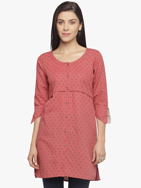 Mineral Women Red Printed A-Line Kurti  available at myntra for Rs.1679